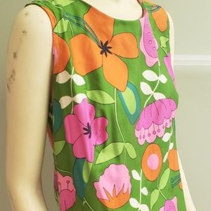 Dresses & Skirts - bright pop art floral cotton shift dress 1970's L